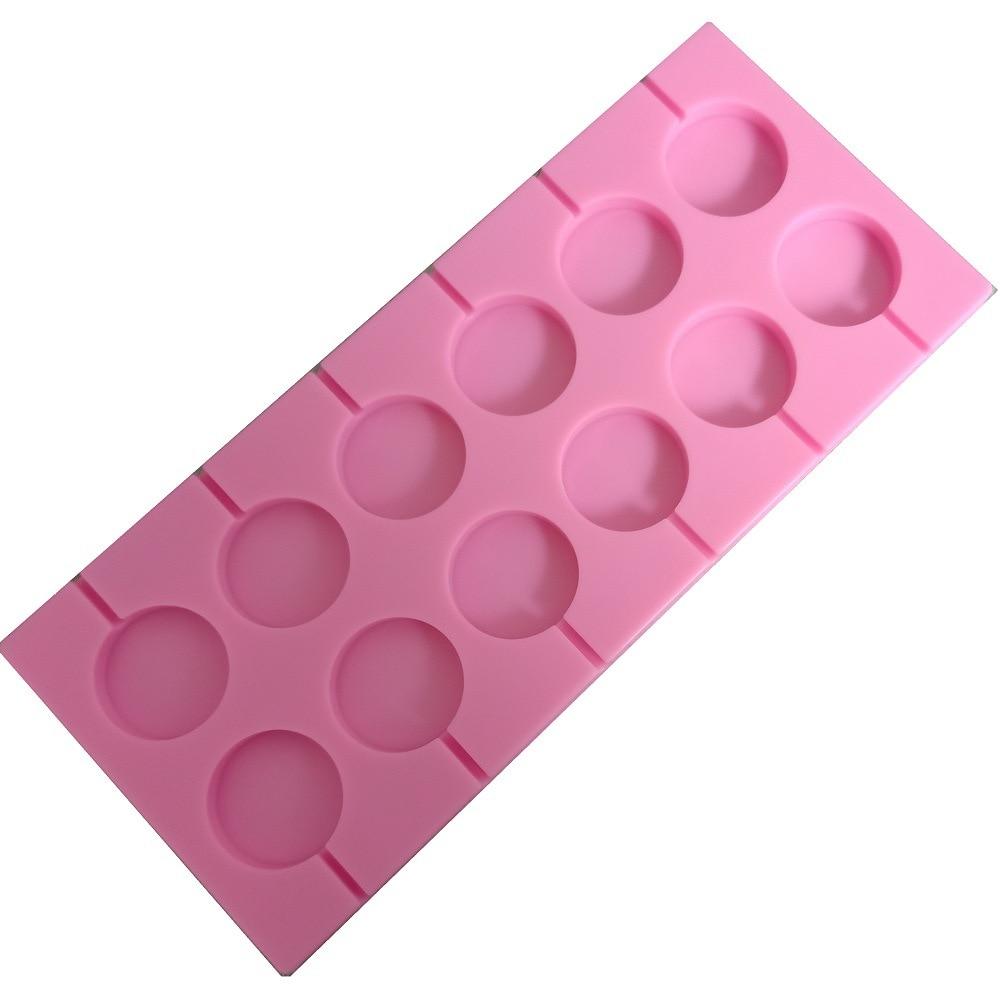Molde de silicona con piruleta abierto redondo de 12 unidadespara Chocolate, molde de Caramelo Suave, molde de silicona de calidad alimentaria, molde de manualidades para hornear C139