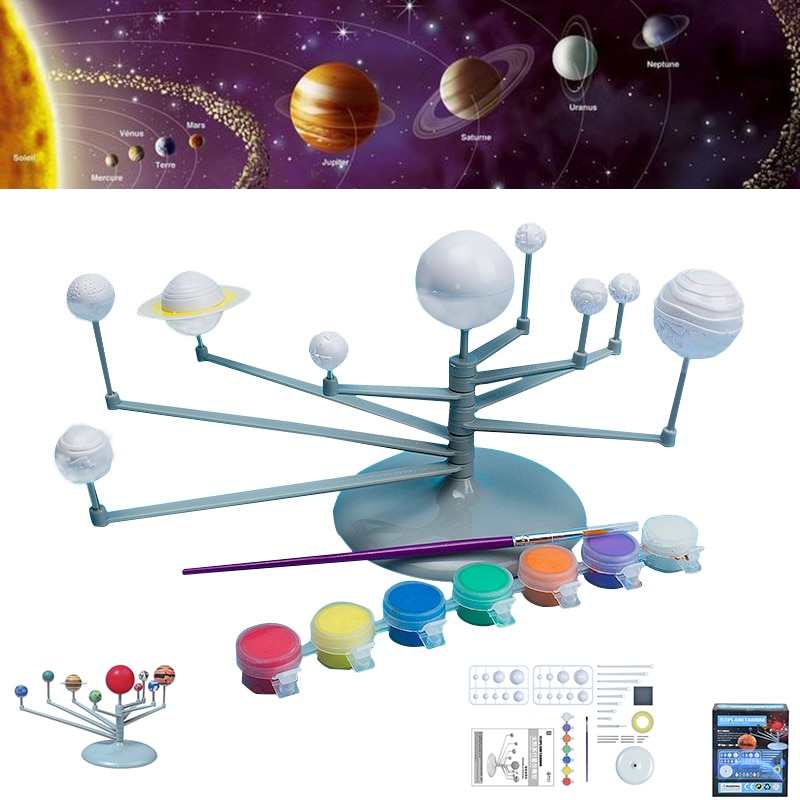 Sistema Solar instrumento de planeta Kit de modelo de ciencia Juguetes DIY pintura modelo planetario astronomía juguetes educativos para niños