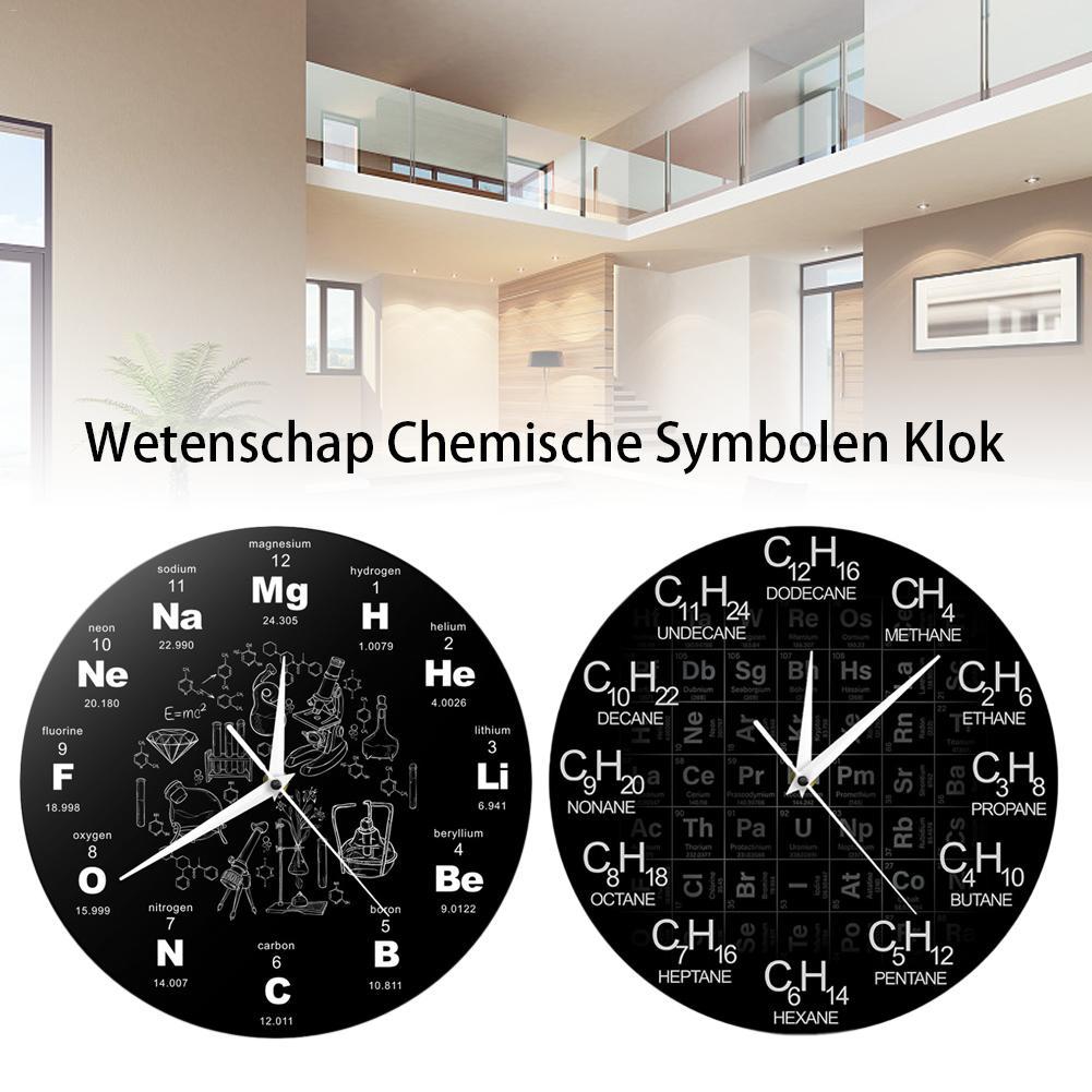 Diseño moderno elementos químicos Reloj de pared acrílico periódico Ciencia Química símbolo reloj química regalo del maestro