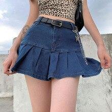 Harajuku Punk Y2K Denim Mini Pleated Skirt Ladies Summer High Waist Jeans Shorts Skirts Women Ruffle