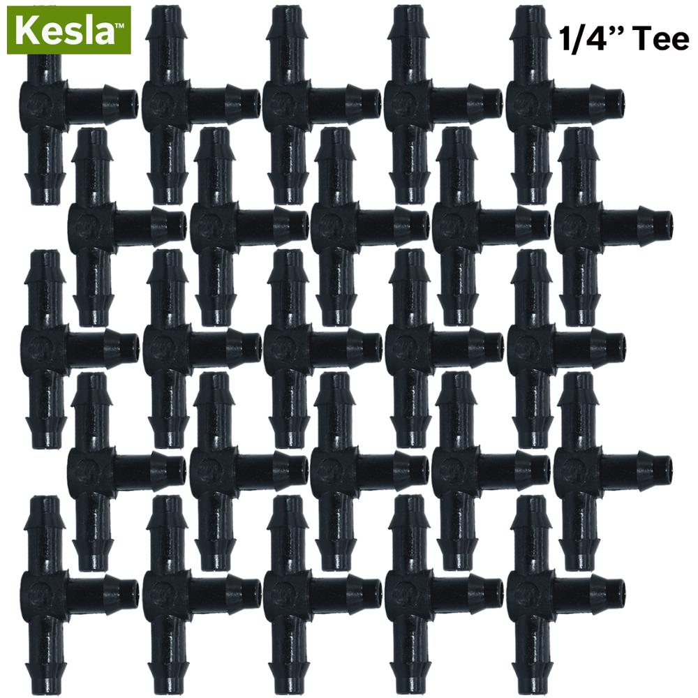 KESLA 50PCS Plastic Barbed 3-Way TEE Connector for 4/7mm Tubing Watering Pipe Hose Couplings Micro Drip Irrigation Garden Tools