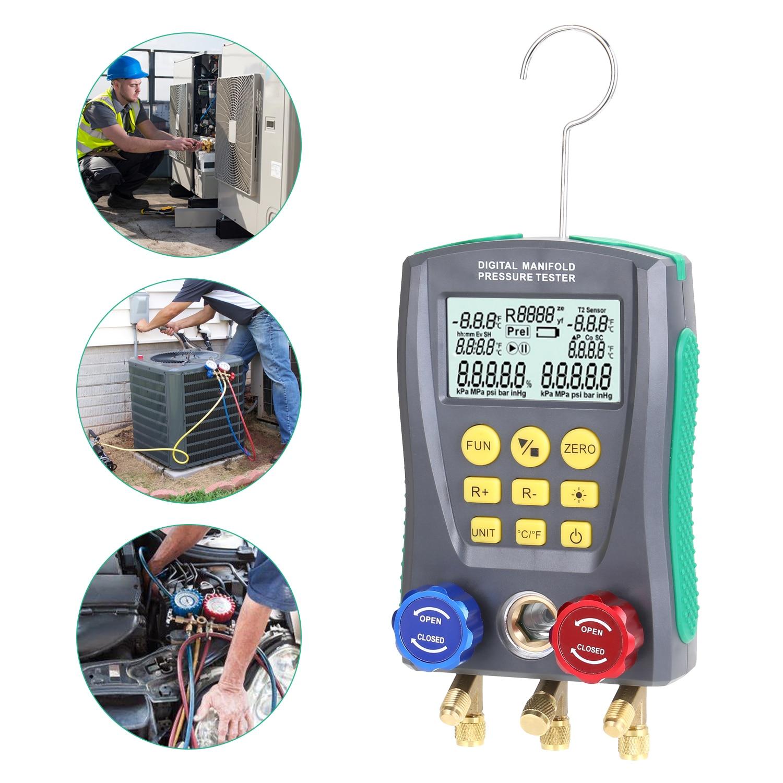 قياس الضغط التبريد الرقمية فراغ ضغط المنوع تستر متر HVAC جهاز قياس درجة الحرارة الرقمية مقياس متعدد متر