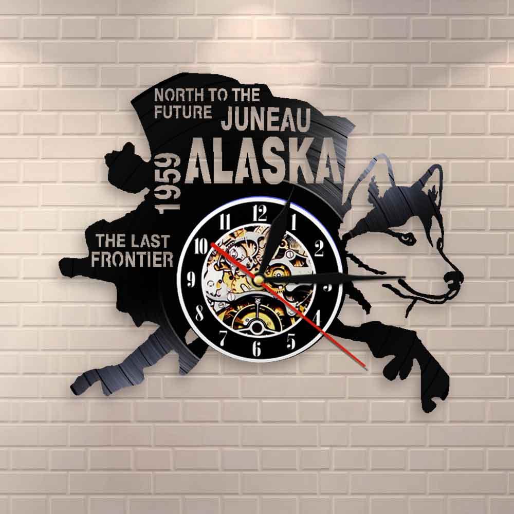 La última frontera decoración de Alaska Estados Unidos paisaje urbano reloj de registro de vinilo del norte al futuro Juneau regalo Vintage moderno decoración de perro de Alaska