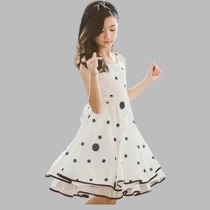 Dress For Girls Fashion Dot Party Dress Girls Sleeveless Lace Kids Dresses Summer Elegant Kids Tutu Dress For Girls 6 8 10 12 14