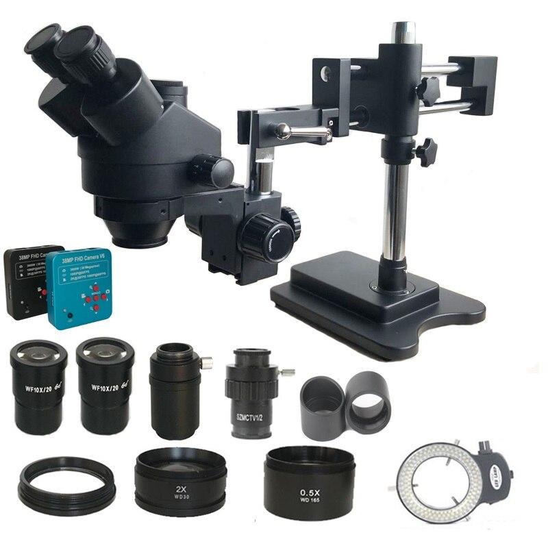 3.5X-90X Double Boom stand trinocular stereo Microscope 38MP HDMI microscopiou USB SD Recorder camera phone PCB repair tools kit
