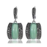 luxury geometric red black green stone earrings for women antique silver color black rhinestone drop earrings original