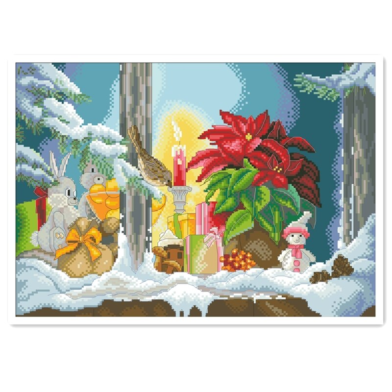 Navidad ventana alféizar Cruz Paquete de costura invierno nieve 18ct 14ct 11ct tela algodón hilo bordado DIY hecho a mano costura
