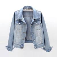 Женская джинсовая куртка с длинным рукавом, светильник-голубая и темно-синяя