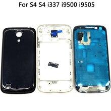 Pour Samsung Galaxy S4 mini i9190 i9192 i9195 couvercle de batterie + cadre central avant + bouton accueil adhésif pour boîtier complet S4