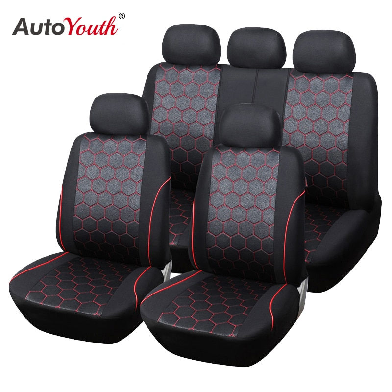 AUTOYOUTH Soccer Ball Style Car Seat Covers Jacquard Fabric Universal Fit Most Brand Vehicle Interio