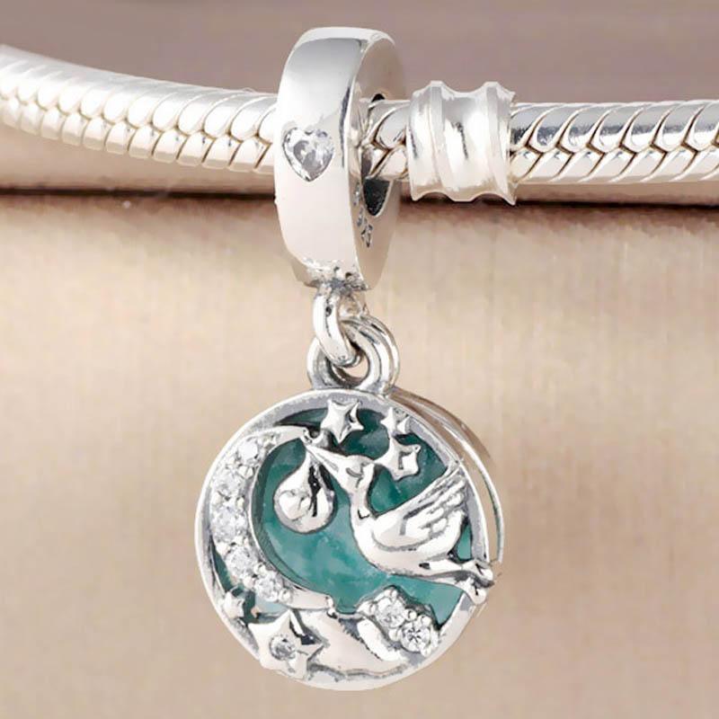 Original Shimmering Blue Enamel Stork & Twinkling Stars Pendant Beads Fit 925 Sterling Silver Charm Pandora Bracelet Diy Jewelry