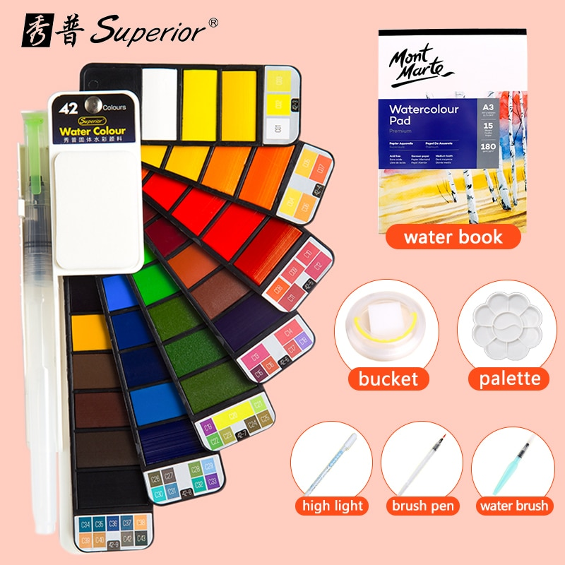 Superior 42Colors Big Set Solid Watercolor Paint With Water Brush Pen Foldable Travel Water Color Pigment For Beginner Student