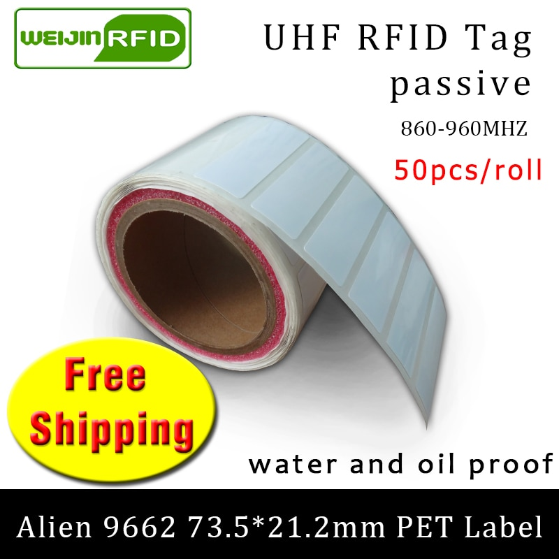 RFID-ملصق Alien 9662 مقاوم للزيت والماء ، ملصق للحيوانات الأليفة ، 915m868mhz ، EPC 6C ، 50 قطعة ، شحن مجاني