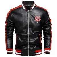 fashion top patchwork leather bomber jacket autumn jacket mens new style mens jacket casual letter embroidery leather jacket s