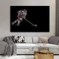 ice hockey poster abstract black white canvas painting wall art sports posters and prints picture for living room decor cuadros