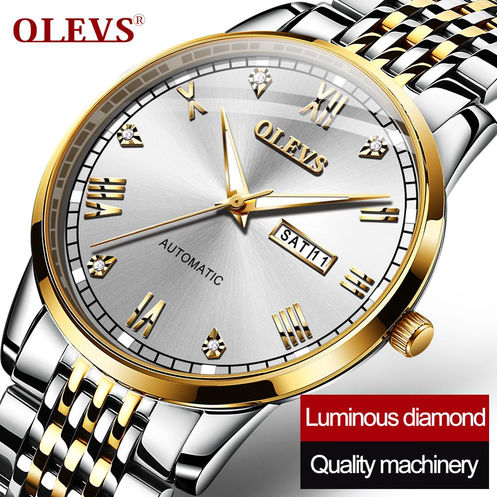 OLEVS-ساعة ميكانيكية للرجال ، كرونوغراف سويسري ، مقاومة للماء ، بسوار فولاذي ، هدية