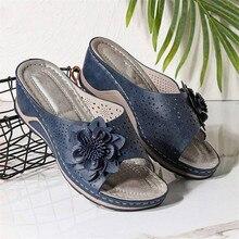 Wedges Slip-On PU สีดำแฟชั่นสตรีแพลตฟอร์มรองเท้าแตะรองเท้าผู้หญิง Sandalilas Sandles ผู้หญิงแบนรองเท้าสบายๆฤดูร...
