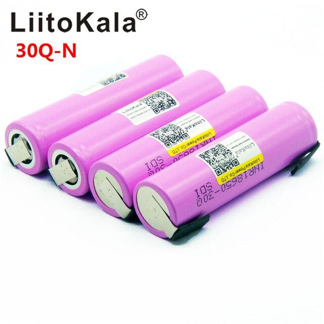 100 قطعة Litokala الأصلي 18650 3000mah بطارية INR18650 30Q-N 20A التفريغ ليثيوم أيون بطارية قابلة للشحن