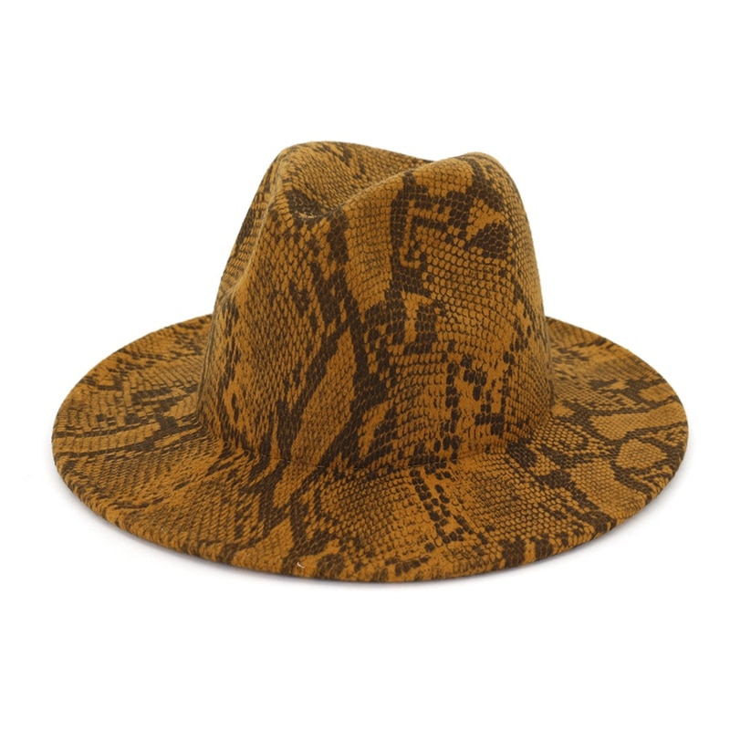 Snakeskin Pattern Wide Brim Fashion Tide Jazz Hat Casual Tide Autumn Winter Personality Women Cap Adult Cap