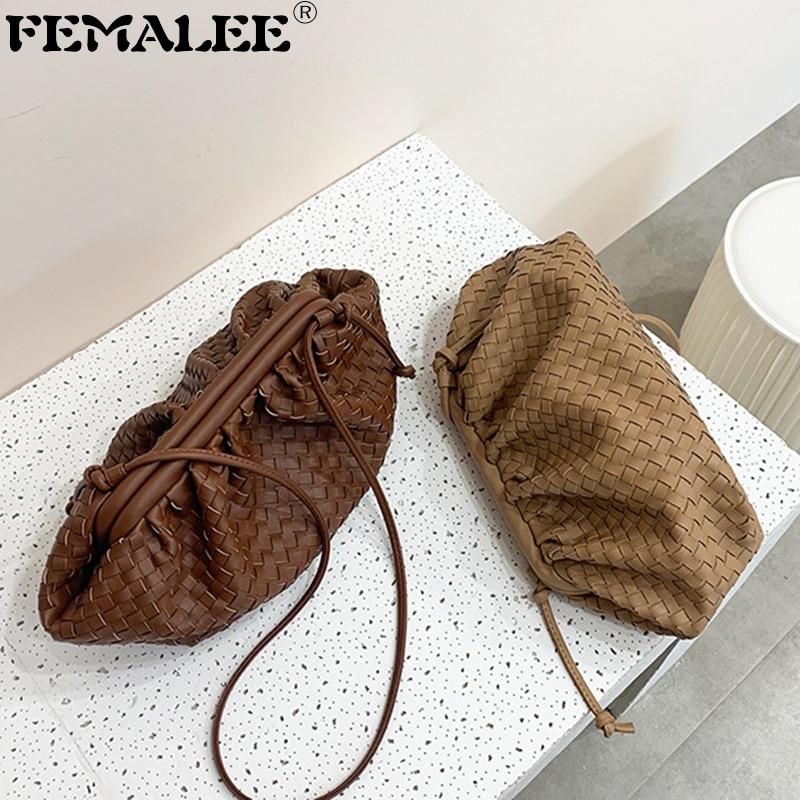 Weaving Leather Pouch Handbag Women 2019 Soft Hand Purse Fashion Clutch Bag Evening Party Purse Bag Women Large Ruched Cloud Bag