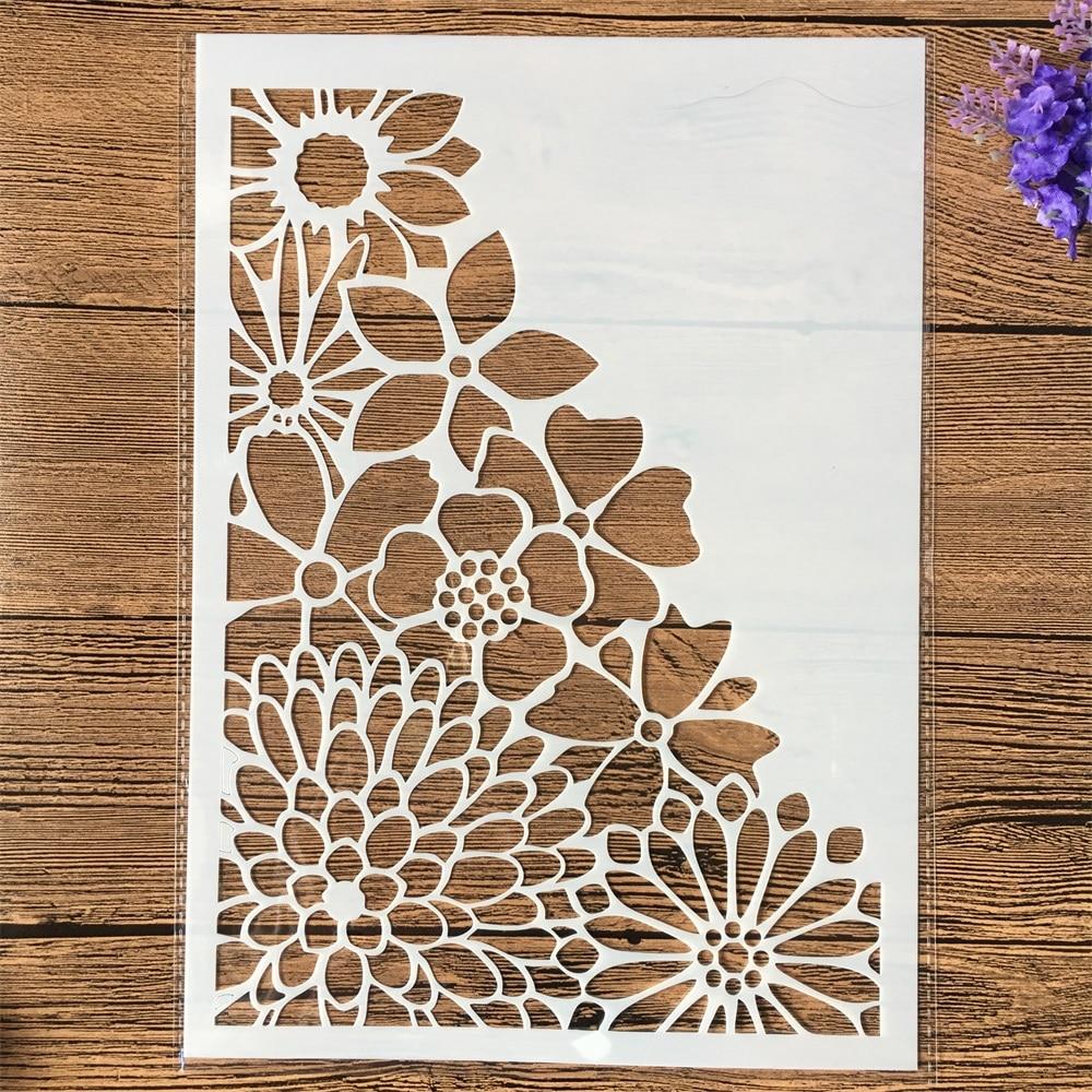 1Pcs A4 Half Chrysanthemum Flower DIY Layering Stencils Wall Painting Scrapbook Coloring Embossing Album Decorative Template