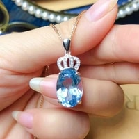 hot selling design oval sky blue cz crown pendent necklaces women two tone chain anniversary gift lover fashion party jewelry
