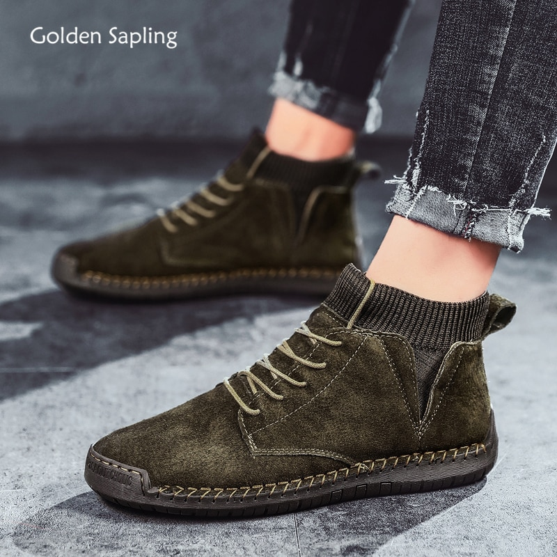 Golden Sapling Retro Style Men's Boots Soft Rubber Outdoor Shoes Men Mountain Hiking Trekking Sneakers Comfortable Tactical Boot