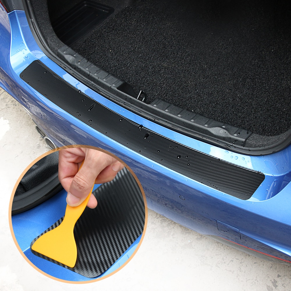 Carbon Fiber Car Trunk Rear Bumper Sticker for Mitsubishi asx lancer 10 outlander 3 l200 pajero sport galan