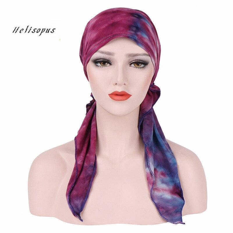 Helisopus אופנה כובעים מודפסים לנשים למתוח טורבן בנדנות שיער אביזרי מוסלמי שיער להקות גבירותיי כובע סרטי ראש