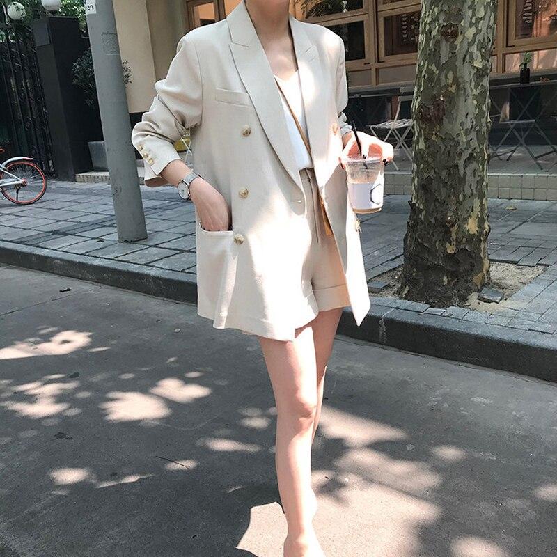 Bahar kadın takım elbise seti rahat ekose kruvaze takım elbise + şort takım elbise
