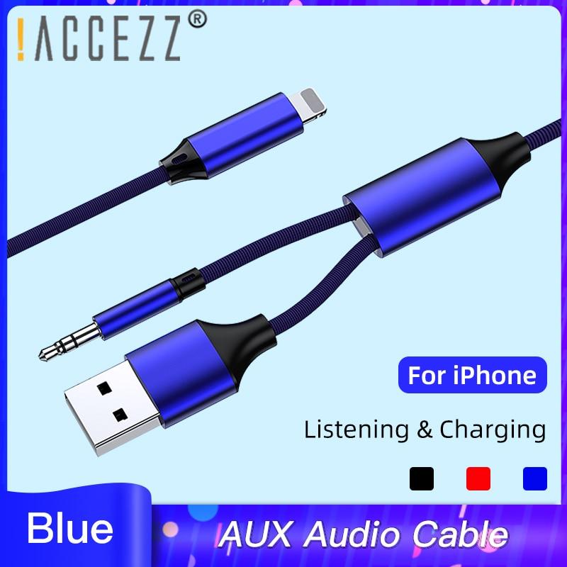 ¡! ACCEZZ 3,5mm Jack 2 en 1 Cable de Audio auxiliar para IPhone 7 8 6 X XS adaptador máximo auriculares altavoz de coche conector USB de carga y música