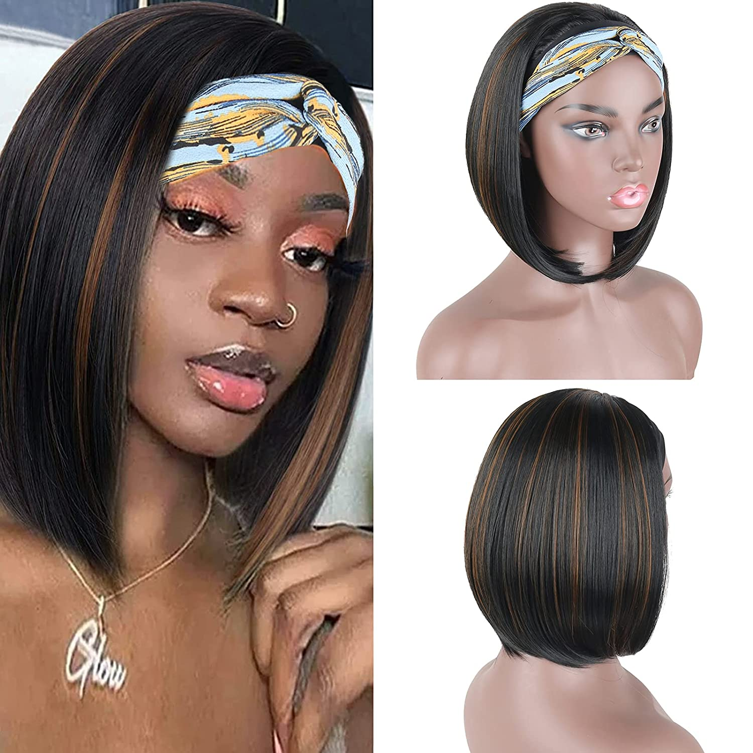 Afro Straight Bob Headband Wig Synthetic Wigs For Black Women Machine Made Mix Blonde Looks Natural Daily Use