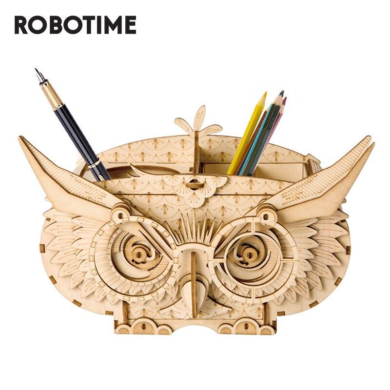 Robotime DIY Owl Box Storage Box 3D Wooden Puzzle Toys Assembly Model Desk Decor Toys for Children TG405