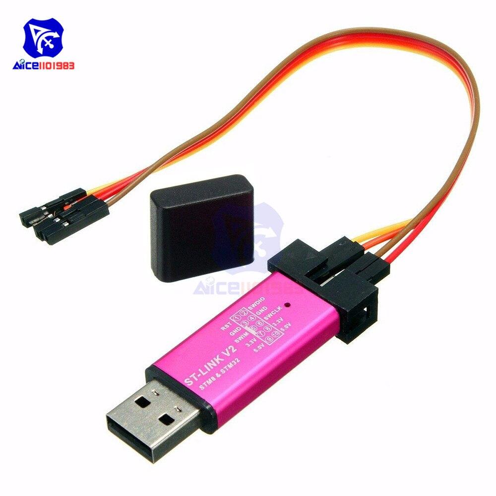 Diymore st-link v2 escudo unidade de programação mini stm8 stm32 emulador downloader com cabo dupont (cor aleatória)