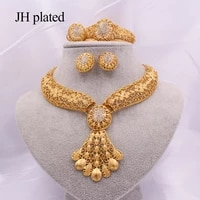 jewellery set african luxury gold jewelry ethiopia dubai wedding party gift for women bridal necklace bracelet earrings ring set