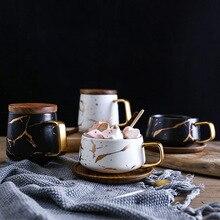 Nordic Marbled Matte Golden Ceramic Tea Cup Coffee Mug Luxurious Water Cafe Tea Milk Cups Wooden Tray Home Restaurant Supplies