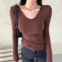 autumn brown long sleeve womens tshirts slim bodycon o neck t shirt cotton korean fashion soild tee shirt femme top women 2021