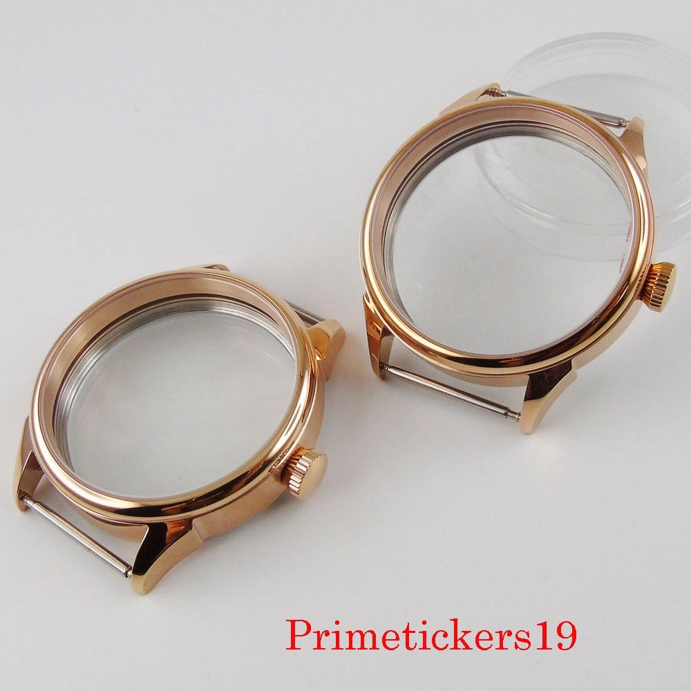 Banhado a Ouro 42mm de Aço Inoxidável Completa Rosa Assista Case Apto Eta 6497 6498 Mão Enrolamento Movimento Vidro Volta Capa