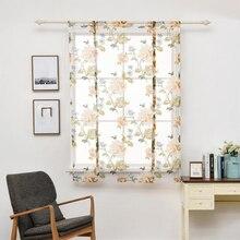 Rideaux courts floraux pour rideaux de Voile de cuisine pour salon moderne chambre rideaux transparents fenêtre criblage rideaux porte