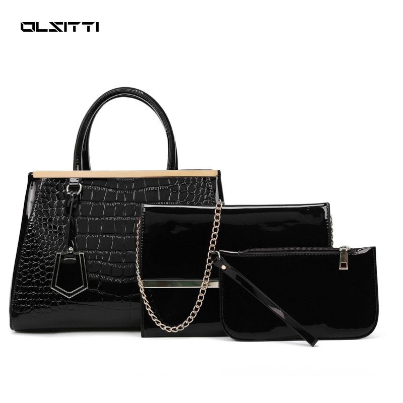 3 In 1 Crocodile Pattern Luxury Womens Handbags Fashion Pu Leather Shoulder Bags for Women 2021 New Designer Bag with Wallet