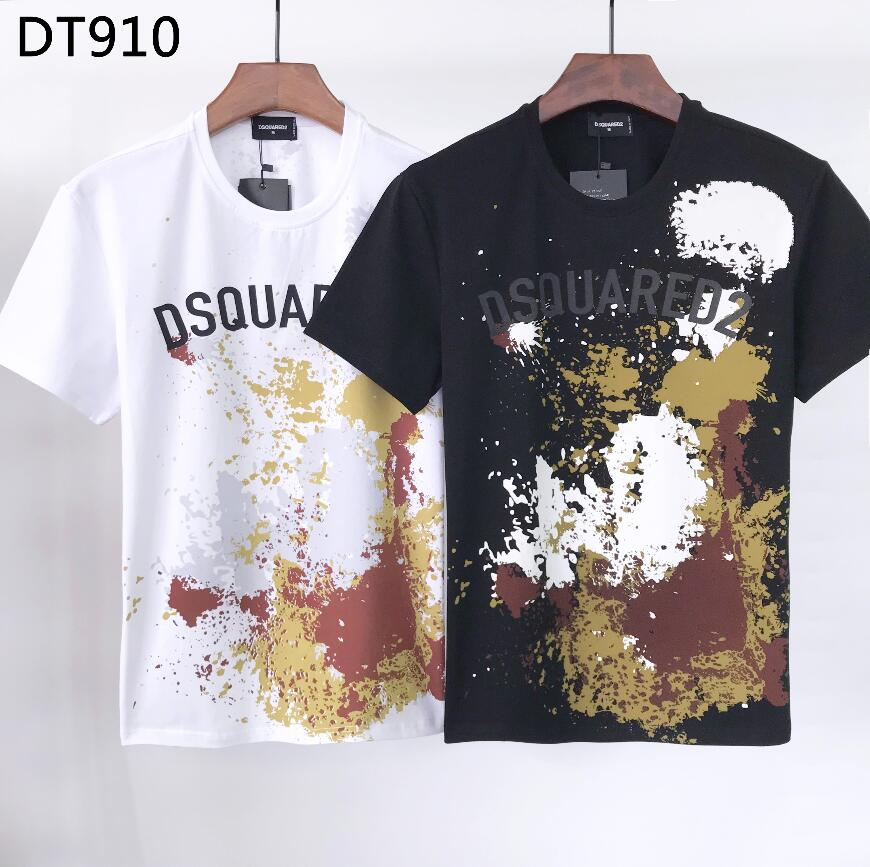 جديد Dsquared2 تي شيرت مطبوع للرجال ، قطن نمط الهيب هوب قمصان للنساء DT910