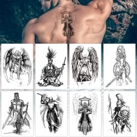 cool spartan warrior temporary tattoos sketchs for men boys ancient gladiator fake waterproof big arm tattoo stickers ares mars