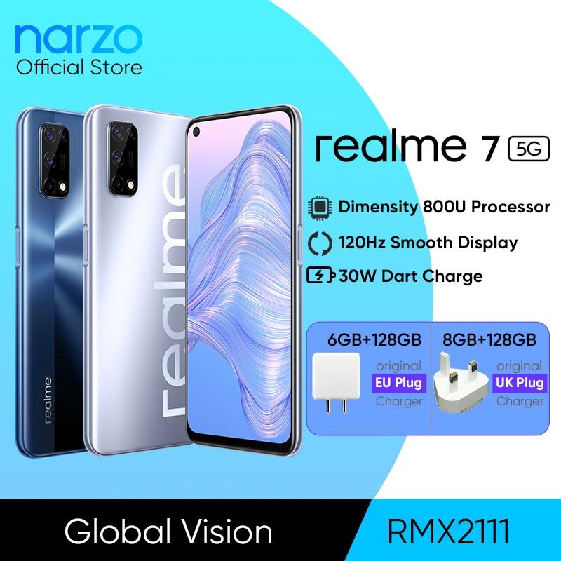 Realme 7 5G Dimensity 800U Octa Core 6/8 ГБ 128 120 Гц Дисплей 48MP Quad Camera 5000 мА/ч, Батарея глобальная Версия 30 Вт Дротика Зарядное устройство