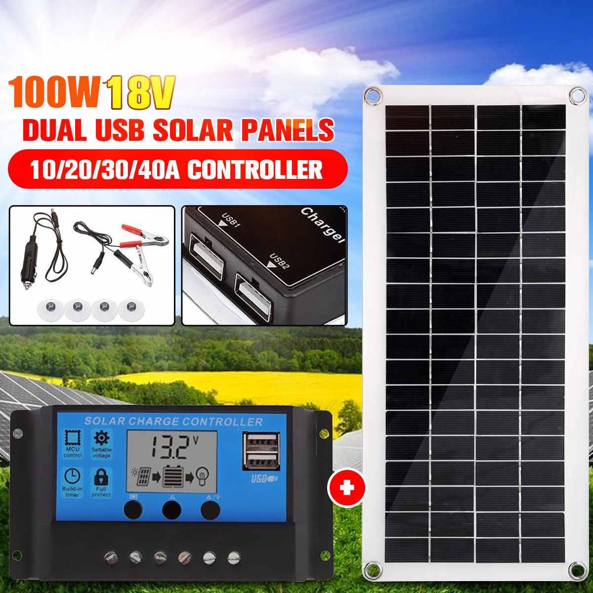 Externa de Carregamento Portátil Painel Solar Duplo Usb Power Bank Board Bateria Célula Placa Clipes Crocodilo Carro Carregador 100w 18v