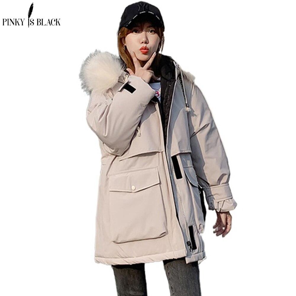 Женские зимние куртки PinkyIsBlack, Длинные парки, женское однотонное пальто большого размера с капюшоном и меховым воротником, толстое повседне...