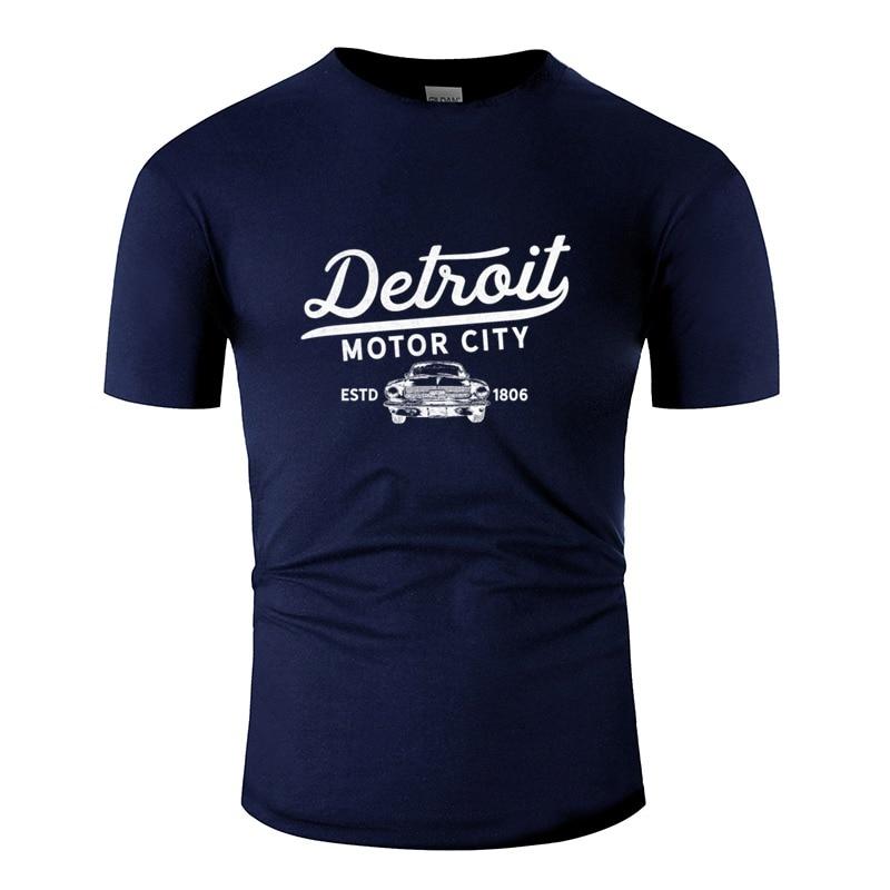 Personalizado detroit michigan motor cidade clássico vintage retro masculino camiseta o-pescoço camiseta masculina roupas de algodão t topo