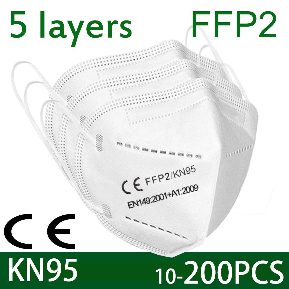 100 pièces de KN95 masque facial antivirus 5 couches filtre poussière port PM2.5 mascarillas fpp2 protection santé masque livraison rapide