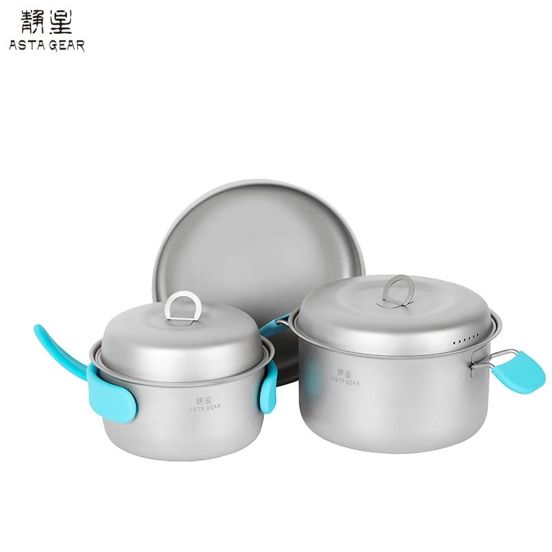 ASTAGEAR utensilios al aire libre puro titanium olla pan conjunto vajilla ultraligero de cocina portátil senderismo Picnic mochila