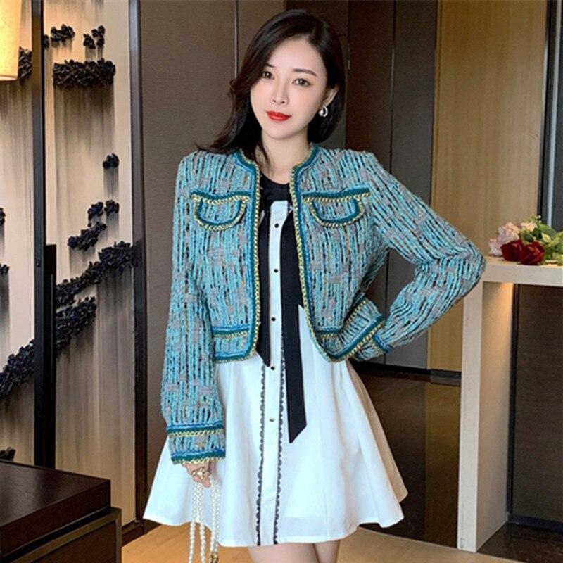 عالية الجودة المدرج الخريف الشتاء الكورية Vintage الصوف تويد سترة معطف المرأة سترة غير رسمية طويلة الأكمام أنيقة الإناث ملابس خارجية