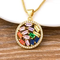 new arrival round hollow necklace gold chain cubic zirconia cz rhinestone crystal colorful turkish fashion jewelry for women girls best birthday party gift